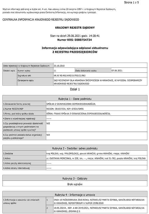 Odpis z Krajowego Rejestru Sądowego